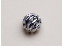 filigránový korálek - kov. stříbrný
