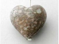 přívěšek srdíčko-vinutka, imitace kamene, šedo-růžové