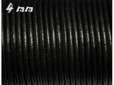 kulatá kůže černá - 4mm