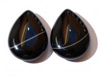 achát - černý 2ks