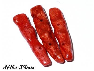 červený korál - 3ks
