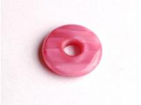 skleněný donut perleťově tm. růžová